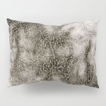 Gray Marble Pattern Black And Silver Vined Pillow Sham by GittaG74