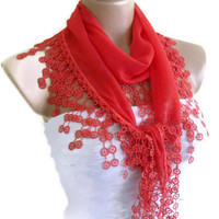 cotton scarf, Necklace scarves, Traditional Turkish-style, Headband,  Coral red scarf,  fashion 2013