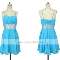 Spaghetti Straps Blue Homecoming Dress/ Cocktail Dress With Sequins Waistband/ Homecoming Dress/ Short Prom Dress/ Formal Dress