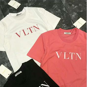 "82046459 Valentino Fashion Women Men Loose ""VLTN"" Letter Print Round Collar Pullover  Top T-"