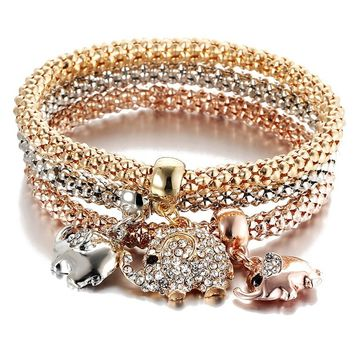 Best Valentine's Day Gift! 3pcs Charm Women Bracelet Gold Silver Rose Gold Rhinestone Bangle Jewelry Set (4 sizes)