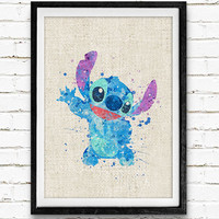 Stitch Poster, Lilo and Stitch Disney Watercolor Art Print, Kids Decor, Wall Art, Home Decor, Gift, Not Framed, Buy 2 Get 1 Free!