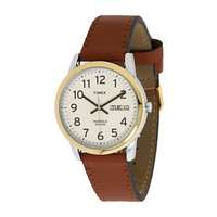 Timex Easy Reader Brown Leather Watch #T20011 Gold/Silver - Zappos.com Free Shipping BOTH Ways