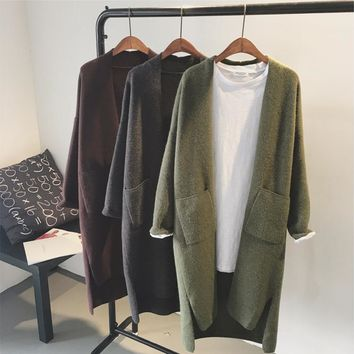 New Woman Cashmere Cardigan Coat 2017 Spring Autumn Solid Open Neckline Long Coats Clothing Knitting Cardigans Sweater Coat W885