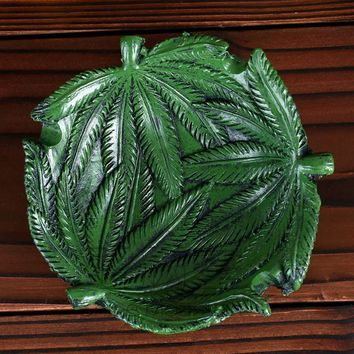 Pot Leaf Novelty Ashtray. Coin Dish Or Decorative Piece - Green Marijuana Pot Cannabis Leaf