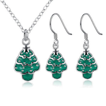 Christmas Jewelry Set Christmas Tree Oil Drip Earrings Necklace Kit