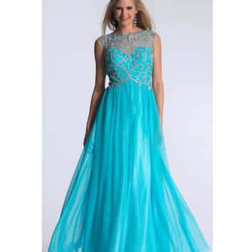 Dave & Johnny 1289 Aqua Illusion Sweetheart Sheer Back Beaded Dress 2015 Prom Dresses