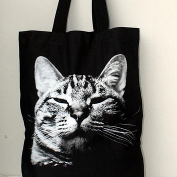 Sleeping cat  big size Canvas tote bag/Diaper bag/Shopping bag/ Document bag /Market Bag.