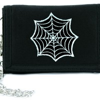 Gothic Spider Web Tri-fold Wallet w/ Chain Occult Clothing