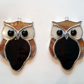 Handmade Stained Glass Owl Suncatcher
