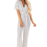 Navy and Khaki Striped Jumpsuit with Waist Tie