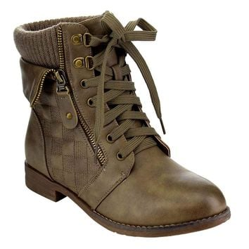 Foldover Lace Up Sweater Collar Stacked Ankle Booties Vegan Leather Women's