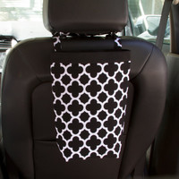 Car Trash Bag, BLACK QUATREFOIL, Women, Men, Car Litter Bag, Auto Accessories, Auto Bag, Car Organizer, Craft Bag, New Car Present,