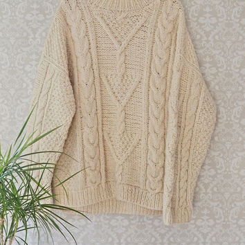 Chunky 1980s Cableknit + Mock Neck Sweater