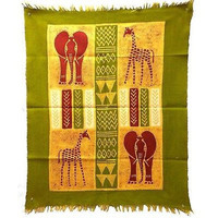 African Quad Batik Wall Art in Green/Yellow/Red - Tonga Textiles