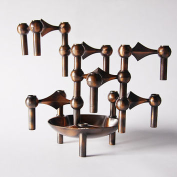 Rare Set of 6 Atomic Age Candle Holders and Bowl - Nagel