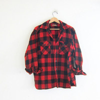Vintage buffalo check shirt / red checkered flannel / boyfriend flannel / Grunge lumberjack shirt