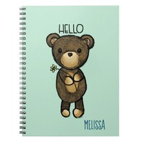 Cute Brown Bear with Yellow Flower Hello Notebook