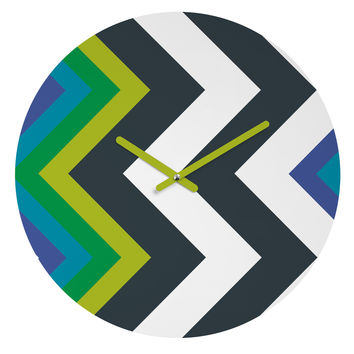 Karen Harris Modernity Galaxy Cool Chevron Round Clock