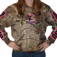 Womens Camo/Pink Hoodie by Bucked Up