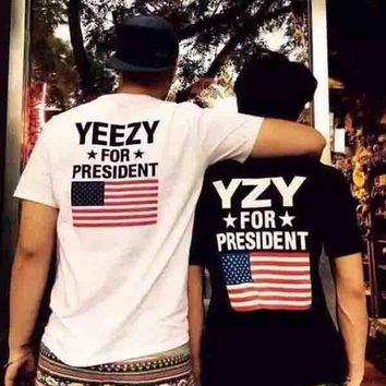 Yeezy Popular Unisex Classic Personality Print Short Sleeve T-Shirt Pullover Top