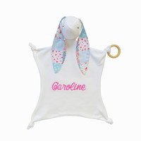 Personalized security blanket, Baby girl lovey, Baby girl toy, Lovey blanket, Christmas baby gift,  baby girl shower gift, stuffed bunny
