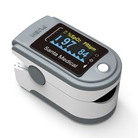 Santamedical SM-165 Fingertip Pulse Oximeter Oximetry Blood Oxygen Saturation Monitor with carrying case, batteries and lanyard
