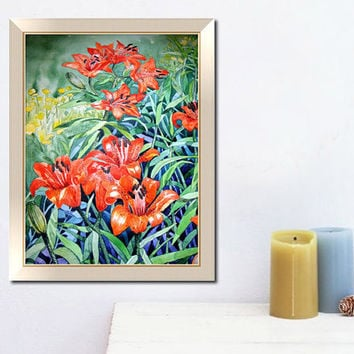 Watercolor painting-Flowers-Watercolor print-Wall art print gift decor poster-You can custom original watercolor portrait from photos