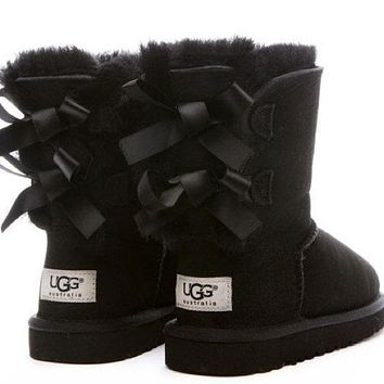 UGG:: bow leather boots boots in tube-2