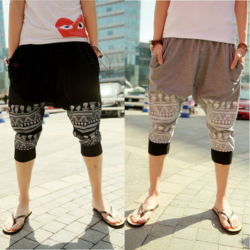 Mens Hip Hop Cropped Casual Harem Pants