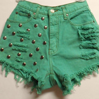 Vintage High Waist  Green Denim Shorts with Studs  Waist 24 inches