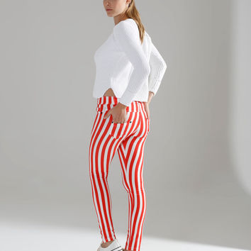 Red and White Striped Polka Dot High Waist Leggings,christmas leggings,Red and White Striped leggings,red leggings,red striped leggings