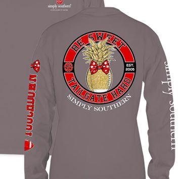 "Simply Southern ""Tailgate Hard"" Long Sleeve Tee- Red/Black"