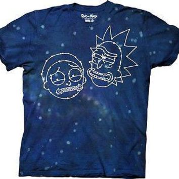 Rick and Morty - Constellation Faces Adult Men Tie Dye T-Shirt S-2XL