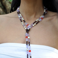 Gemstone Crystal Lariat, Poppy Red Violet, Garnet Amethyst, Swarovski Crystals and Pearl