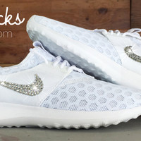 Women's Nike Juvenate Running Shoes By Glitter Kicks - Customized With Swarovski Crystal Rhinestones - White/White