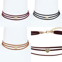"""Women Gothic Wide Band Multi Heart Suede CHOKER Gold Metal Circle NECKLACE 12"""""""