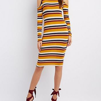 Striped Mock Neck Cold Shoulder Dress