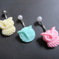 Pastel Owl Belly Button Ring Navel Piercing Jewelry Stud Cream Yellow Mint Green Pink Bar Barbell