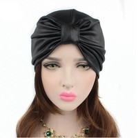 2017 new women hats leather turban caps head wrap dome caps europe style india hats women beanies skullies for fall and spring