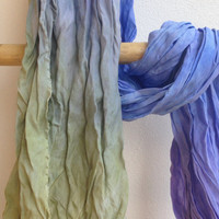 Hand dyed silk scarves in blue violet and green  -  Natural bombix silk - Made in Italy