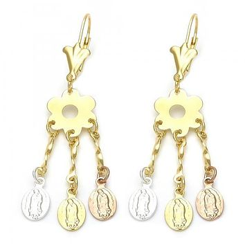 Gold Layered 02.63.2280 Chandelier Earring, Guadalupe and Flower Design, Tri Tone