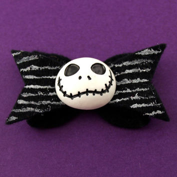 Jack Skellington Hair Bow - Nightmare Before Chrstmas Felt Hair Bow - Disney Inspired