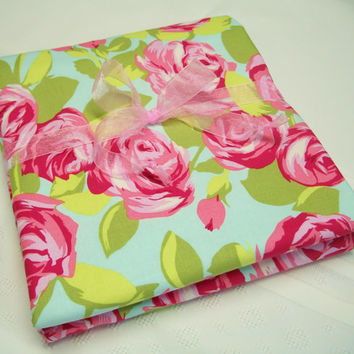Pink Baby Receiving Blanket - Made with Amy Butler Fabric and Soft Flannel