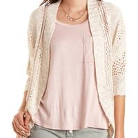 Open Knit Cocoon Cardigan by Charlotte Russe - Ivory