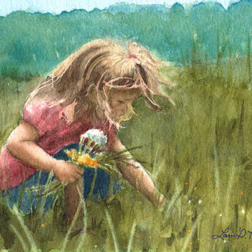 Girl Picking Wildflowers Watercolor Painting- Archival Art Print- 5x7 Signed Giclée by Laura D. Poss