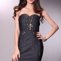 Black Denim Strapless Studded Decor Sexy Mini Dress @ Amiclubwear sexy dresses,sexy dress,prom dress,summer dress,spring dress,prom gowns,teens dresses,sexy party wear,women's cocktail dresses,ball dresses,sun dresses,trendy dresses,sweater dresses,teen c