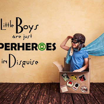 Wall Decals Little Boys Are Just Superheroes Quote Decal Kids Nursery Cosplay Vinyl Stickers Home Bedroom Decor Playroom T96