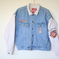 Loony Toons Light Blue Denim Jean Jacket Outerwear XL Unisex Vintage 80s