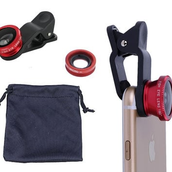 3 in 1 Fish Eye Wide Angle and Macro Camera Clip on Lens for Universal Cell Phone Smartphones Red